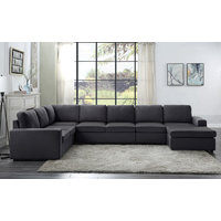 Tifton Modular Sectional Sofa with Reversible Chaise in Dark Gray Linen