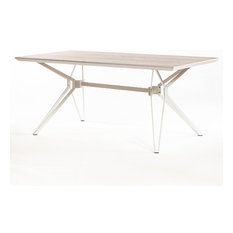 Milano Fixed Dining Table, Matte White and Natural Walnut