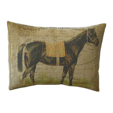 "French Horse Burlap Pillow, 12""x16"""