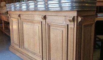 Meuble de métier : Ancien bar / comptoir en chêne et étain