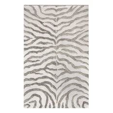 nuloom zebra with faux silk highlights area rug gray - Zebra Print Rug