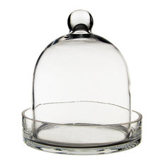 """Cloche Bell Glass Dome With Tray, 8"""""""