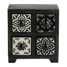 "Curios 4 Drawer Brown Wood Apothecary Chest, Black, 6""x4"""