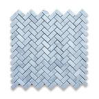 "12""x12"" Carrara White Herringbone Mosaic Tile Honed, Chip Size: 5/8""x1.25"""