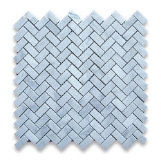 "12""x12"" Carrara White Herringbone Mosaic Tile Honed, Chip Size: 5/8""x1.25"""