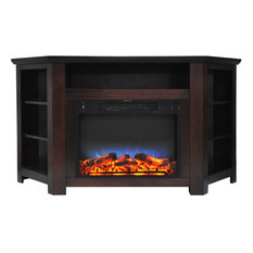 """Stratford 56"""" Electric Corner Fireplace, Mahogany With LED Multi-Color Display"""