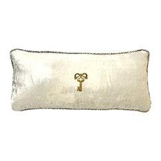 Ivory Handbeaded Velvet Pillow with Removable Pin, Ivory-Key
