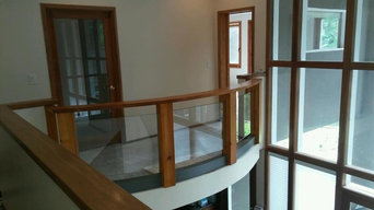 Custom Cedar Handrail with Recessed Glass