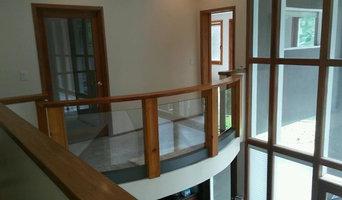 Custom Cedar Handrail with Recessed Glass