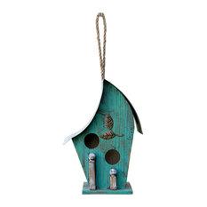 """Alpine Turqoise Artful Wooden Birdhouse, 12"""""""
