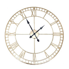 Round Wall Clock, Antique Gold Finish