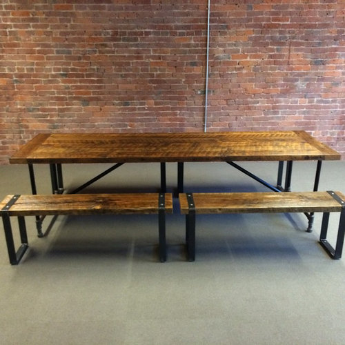 Barn-Wood Dining Table and Benches