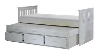Captain's Bed With Trundle and Storage, White, Single