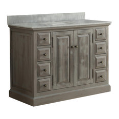 "Infurniture 48"" Solid Wood Sink Vanity With Arctic Pearl Quartz Top, No Faucet"