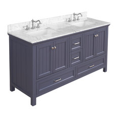 "Paige Bath Vanity, Base: Charcoal Gray, 60"", Double Sink"