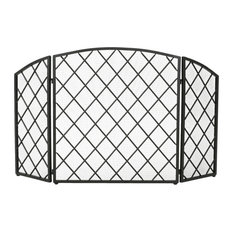 GDF Studio Angella 3-Paneled Iron Fireplace Screen, Black
