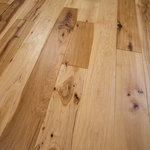 """Hurst Hardwoods - Hickory Hand Scraped Prefinished Solid Wood Flooring, Sample - This listing is for two 9"""" long sample pieces of our popular 5"""" x 3/4"""" Hand Scraped Hickory (Natural) Prefinished Solid wood floor. This solid wood flooring is made from Character Grade Hickory to display the natural characteristics of North America's hardest wood flooring species and offers beautiful rustic aesthetics to compliment your home's interior space. Featuring a tongue & groove milling profile, unique hand-scraped textures created by actual human hands, and hand-scraped edges/ends, this solid hardwood floor has been constructed with Hickory certified by the Forest Stewardship Council. This flooring also boasts an Aluminum Oxide finish, making it highly scratch resistant. Actual flooring planks come in 12"""" to 72"""" random lengths. Installation methods include nail or staple down. Comes with a 30 Year Finish Warranty. For more information, please refer to our Terms & Policies for statements on moisture control, radiant heat, shipping, damage, and returns. For over 25 years, Hurst Hardwoods has been a national leading hardwood flooring wholesaler."""
