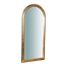Solid Wood Arch Wall Mirror, Gold Leaf, 42x90 cm