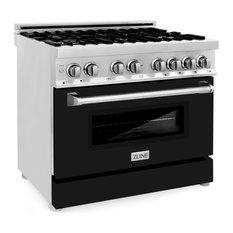 """ZLINE Dual Fuel Range Gas Stove/Electric Oven, Black Matte, 36"""""""