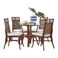 Palm Cove 6-Piece Dining Set W/Glass Seaworthy Coral Red