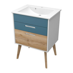 Malmö Bathroom Vanity Unit, Aqua Blue and Beech, 60 cm