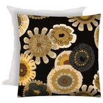 Joita, llc - Far Out Black Indoor/Outdoor Zippered Pillow Covers With Inserts, Set of 2 - Set of 2 - Far Out (black) is the 70's all over again! Flower medallions in colors of gray, off white, taupe, tan, yellow and browns on a black background. Constructed with an outdoor rated zipper, thread and fabric. Printed pattern on polyester fabric. To maintain the life of the pillow cover, bring indoors or protect from the elements when not in use. Machine wash on cold, delicate. Lay flat to dry. Do not dry clean. Two zippered covers and two inserts included.