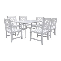 Bradley Rectangular and Curved Leg Table and Armchairs Outdoor Wood Dining Set