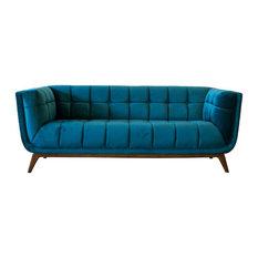 Mid Century Modern Allen Teal Velvet Sofa 78-inch