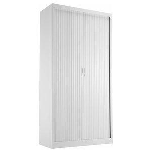 Modern Storage Cabinet, White Finish Steel With Sliding Doors and Inner Shelf