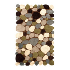 """Hand-Carved Stones and Pebbles Wool Rug, Brown, 7'6""""x9'6"""""""