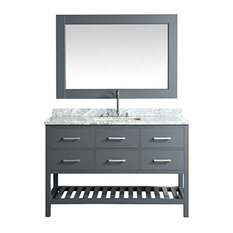 "London 54"" Single Sink Vanity Set, Gray With White Carrera Marble Top"