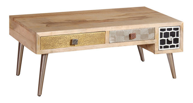 Vidaxl Solid Mango Wood Coffee Table With Drawers 105x55x41 Cm