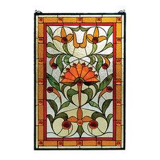 """Meyda Lighting 98229 20""""W x 30""""H Picadilly Stained Glass Window"""