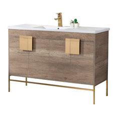 "Shawbridge 48"" Single Sink Bathroom Vanity, Gray, Satin Brass Hardware"