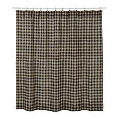 Burlap Black Check Shower Curtain