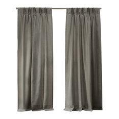 Loha Linen Pinch Pleat Window Curtain Panel Pair, 27x96, Beige