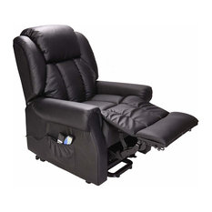 Recliner Chair in Leather Upholstery with Dual Motor Rise, Heat and Massage, Bla