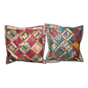 Mogul Interior - Sari Patch Cushion Cover Indian Handmade Pillow Case - Decorative Pillows
