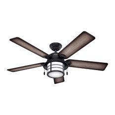 "Hunter Fan Company 54"" Key Biscayne Weathered Zinc Ceiling Fan With Light"