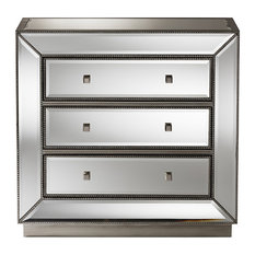 Edeline Hollywood Regency Glamour Style Mirrored 3-Drawer Chest