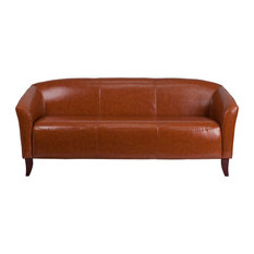 Offex Contemporary Cognac Leather Sofa With Slightly Curved Seat And Back