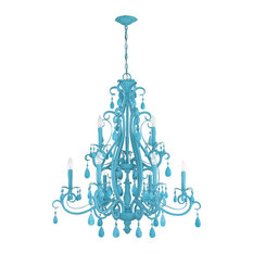 Englewood 9 Light Chandelier in Turquoise