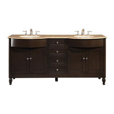"72"" Modern Double Sink Bathroom Vanity, Travertine Top"