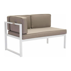Golden Beach Chaise, White & Taupe, Left Facing