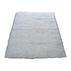 Walk On Me Snowy White Polar Bear Rectangle Sheepskin Faux Fur Rug
