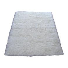 Walk On Me   Snowy White Polar Bear Rectangle, White Sheepskin Faux Fur Rug,