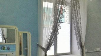 текстильное оформление окна в ванной комнате