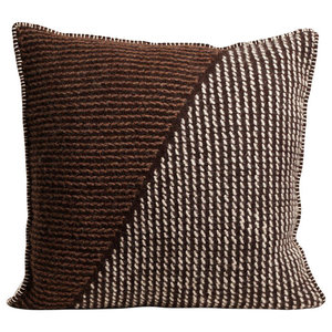 Handmade Square Brutrach Wool Cushion by The Good Shepherd, Brown and White