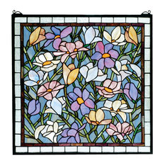 "22""Wx22""H Sugar Magnolia Stained Glass Window"