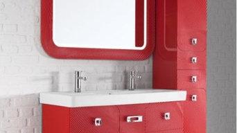 Комплект мебели для ванной комнаты Vod-ok Астрид-120 (5 ящиков) красный